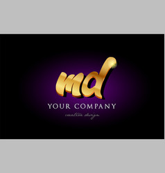 Md m d 3d gold golden alphabet letter metal logo vector