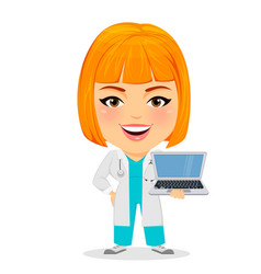 medical doctor woman with laptop funny cartoon vector image