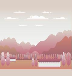 minimal landscape village mountains hills trees vector image