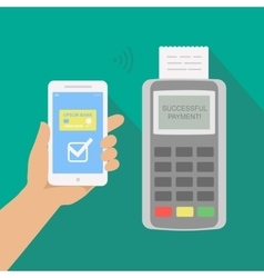 Mobile payment via smartphone Human hand holds vector image