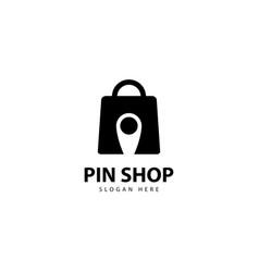 Pin shop logo design vector