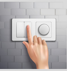 Realistic Hand Pressing Switch vector