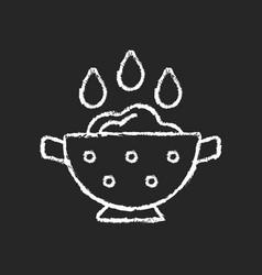 Rinse cooking ingredient chalk white icon on dark vector