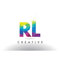 Rl r l colorful letter origami triangles design vector