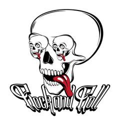 Rock and roll hand drawn of surreal human skull vector
