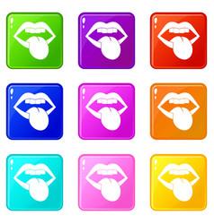 Rock emblem icons 9 set vector