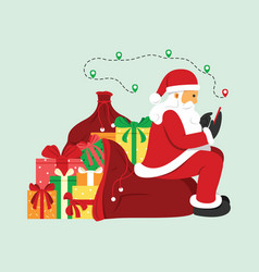 Santa claus search a location on mobile phone vector
