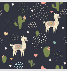 Seamless alpaca pattern with cacti hearts and vector