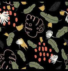 Seamless pattern with exotics tropical black vector
