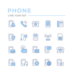 set color line icons phone vector image