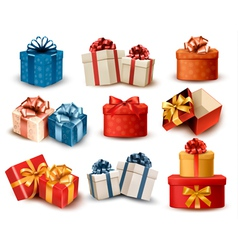 Set of colorful retro gift boxes with bows and vector image