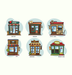 Set of isolated stores and shops cafe grocery vector