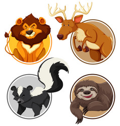 Set of wild animals on circle template vector