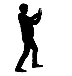 Silhouettes man taking selfie with smartphone on vector
