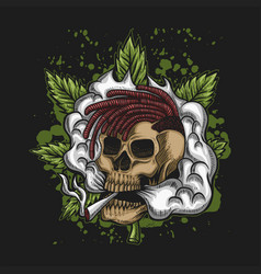skull smoke cannabis vector image