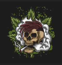 Skull smoke cannabis vector