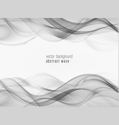 Soft abstract swoosh wave lines border layout grey vector