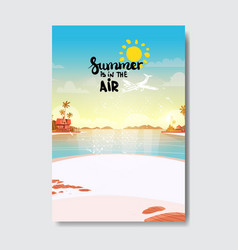 Summer airplane beach landscape badge isolated vector