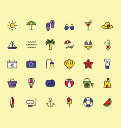 summer travel holiday and beach icons set vector image