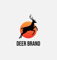 sunset jumping running animal deer antler vector image