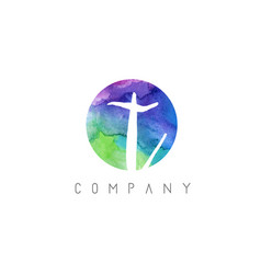 t watercolor letter logo design with circular vector image