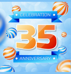 thirty five years anniversary celebration design vector image