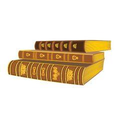 Three old books vintage vector