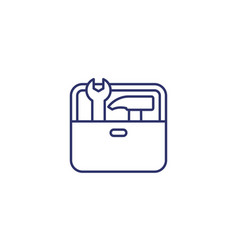 Toolbox line icon with hammer and wrench vector