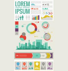 trendy futuristic eco city infographics templates vector image