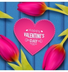 Tulip flowers and heart shaped frame with text vector
