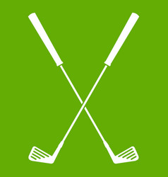 two golf clubs icon green vector image