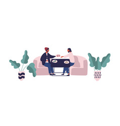 two hipster guy sitting at table eating meal at vector image