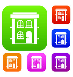 Two-storey residential house set collection vector