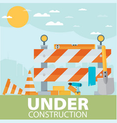 Under construction concept in flat design style vector