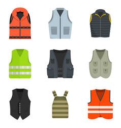 vest waistcoat jacket suit icons set vector image