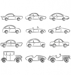 vintage cars icons vector image