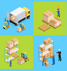 warehouse isometric compositions vector image