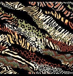 wild animal skins patchwork wallpaper vector image