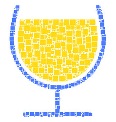wine glass collage of squares and circles vector image
