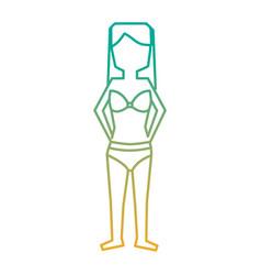 woman standing with bikini swimsuit vector image