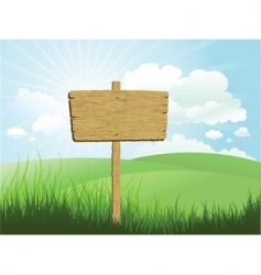 wood sign in grass vector image
