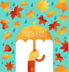 Yellow wet autumn leaves on the background a dark vector