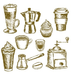 doodle coffee images vector image