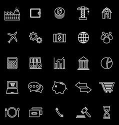 Economy line icons on black background vector image vector image