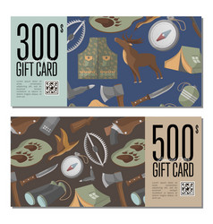 hunting shop gift card templates vector image