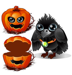raven and box of pumpkins halloween characters vector image vector image