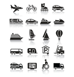 set of simple transport icons with reflection vector image vector image