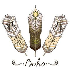 Boho feather vector image vector image