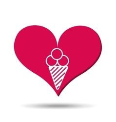 heart red cartoon ice cream icon design vector image vector image