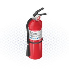 Isometric Extinguisher a Safety Equpment vector image